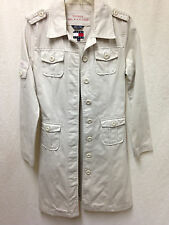 Vintage TOMMY HILFIGER Jacket Military Trench Coat Light Khaki Long Women's SP