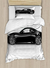 Cars Twin Size Duvet Cover Set Sports Car in Black Color with 1 Pillow Sham