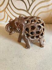 Lovely Carved Soapstone Puzzle Elephant