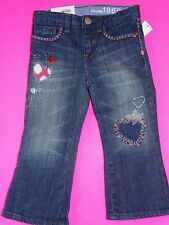 NWT BABY GAP CUTE BOOT JEANS EMBROIDERED 2T 2 YEARS  NORTHERN BRIGHTS HEARTS