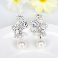 Pearl Cubic Ziircon Bridal Earrings Dangling Silver Long Drop Crystal Earrings