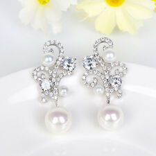 Chandelier Pearl Drop Bridal Earrings Dangling Silver Long Drop Crystal Earrings