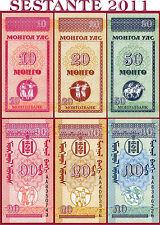 (com) MONGOLIA - 10 + 20 + 50 MONGO 1993 - (3 NOTES) - P 49 + P 50 + P 51 - UNC*