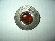 Scotland Celtic Kilt Brooch Pin Vintage Silvertone Thistle & Topaz Crystal