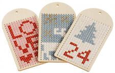 Geschenkanhänger 6er Set DIY Holzanhänger zum Sticken inkl. Stickvorlagen