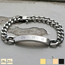 Personalised Stainless Steel ID Curb Bracelet ENGRAVED FREE & GIFT BOX 19cm 21cm