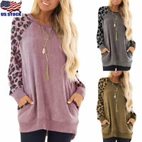US Womens Leopard Print Pocket Sweatshirt Casual Long Sleeve Jumper Tops Blouse