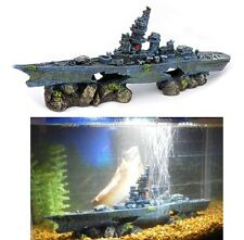Boat Sunken Ship Fish Tank Aquarium Ornament Decor Wreck Coral Battleship Ruins