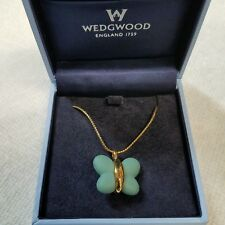 "WEDGWOOD TEAL JASPERWARE 17"" GOLD NIB CHELSEA NECKLACE BUTTERFLY PENDANT & CHAIN"