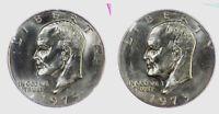 1973 P D Eisenhower BU Dollars in original Mint Cello 2 Coin Ike US Coins