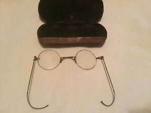VINTAGE ROUND WIRE RIM GLASSES WITH CASE (frame,arms,lenses) read