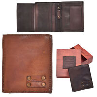 Mens Gents Genuine Vintage Leather Small Bifold Organiser Wallet Coin Section