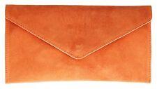 Womens Genuine Suede Envelope Leather Clutch Bag Wrist Flap Elegant Colours