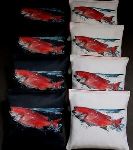 Red FISH Trout Snapper Drum Ocean Water 8 ACA Regulation Cornhole Bean Bags B189