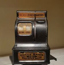 Antique Uncle Sam's 3 Coin Bank Cash Register Slot - Fully Working