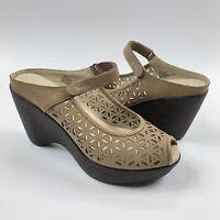 Jambu Journey Wedge Sandals Size 9M Laser Cut Peep Toe Slip On Mule Clog Shoes