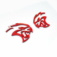 Pair Set New Hollow Hellcat Emblem Badge Left Right 3D Logo for Hellcat (Red)