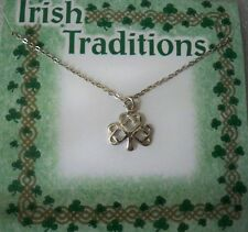 """Shamrock necklace on 18"""" silvertone chain, made in USA, carded"""