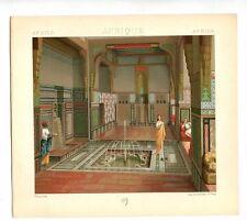 Antique Print Litho CAIRO EGYPT INTERIOR OF HOUSE 1888 Le Costume Historique