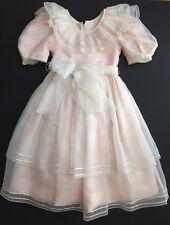 Vintage Sylvia Whyte Girls 8 Dress Peach Sheer Ruffles Full Skirt