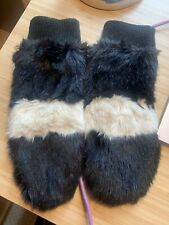 Black & White Furry Mittens Adult Fleece Lined