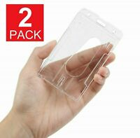 2-Pack ID Badge Holder Hard Plastic Card Holders Vertical