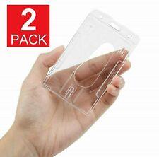 2-Pack ID Badge Holder Hard Plastic Card Holders Vertical