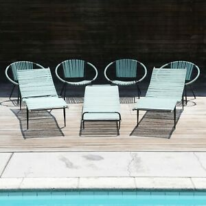 1960s Mallin MCM Vintage Pool Furniture Chaise Lounges and Chairs 7-Piece Set