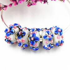 5pcs MURANO Lampwork charm Beads fit 925 silver European Bracelet Chain a454