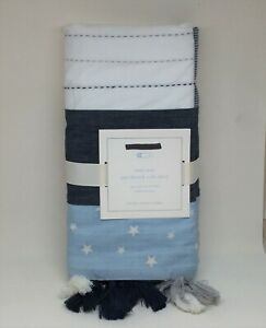 Pottery Barn Baby PBK Max Star Patchwork Crib Skirt Stars Ticking Blue NEW
