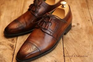 Berluti Brown Tan Burnished Leather Derby Shoes Men's UK 6.5  US 7.5  EU 40.5