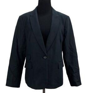 BANANA REPUBLIC Womens Black Single Button Blazer Jacket Career Work 14 Petite