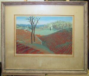 """Vintage Modernist 1941 Color Serigraph """"Piedmont Contours"""" Signed"""