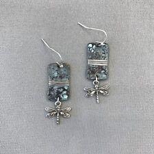 Patina Charm Drop Dangle Earring Bohemian Style Silver Finish Dragonfly Charm