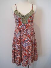 Free People Ruffle Bling Tiered Beaded Embellished Boho Floral Mini Slip Dress S