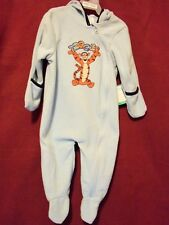 TIGGER Light Blue Cozy One Piece Hooded Sleeper Size 6-9 m NEW w/ Tag