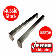 DOOR HANDLE SET ENTRANCE PULL STAINLESS STEEL 600mm LONG SATIN FINISH SQUARE 304