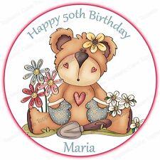 Personalised Cute Gardening Teddy Bear Flowers Edible Icing Birthday Cake Topper