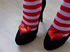 Red Glitter Shoe Clips  -  Queen of Hearts Fancy Dress
