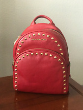 NWT Michael Kors ABBEY Medium Leather Backpack RED $398 NEW