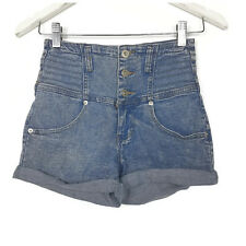 Supre Womens Shorts Size XXS Blue Distressed High Waisted Denim Jeans