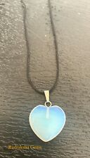 """Opalite Crystal Heart 25 mm Pendant with 20"""" Black Cord Necklace Love Calming Om"""