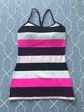 Lululemon Power Y Work Out Tank Top Striped Black Pink White Racerback Bra Sz 4