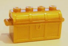 *NEW* 4 SETS Lego Minifig Treasure Chest & Lid PEARL GOLD