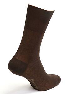 Men's Brown Mid-Calf Diabetic Socks 100%Cotton Made in Italy)