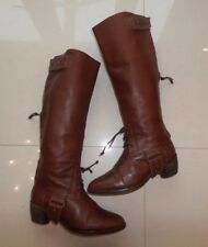 TOP DESIGNER All Saints BROWN LEATHER KNEE HIGH RIDING BOOT STRAP WINTER BOOTS 5
