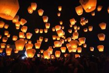 10pcs UFO Fly Lanterns Chinese Paper Wish Lamp Sky Candle Flying Fire Party