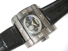 Ice Star Hip Hop Big Case Leather Band Men's Watch Black Item 3248