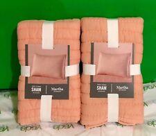Martha Stewart Collection Washed Rice Stitch Standard Sham Orange Set of 2 NWT