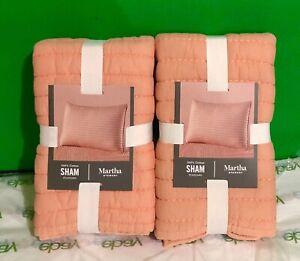 Martha Stewart Collection Washed Rice Stitch Standard Sham Orange NWT